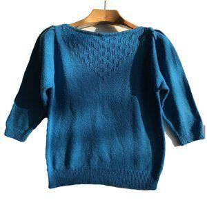 Vintage Teal Boat Neck Pointelle Sweater Women